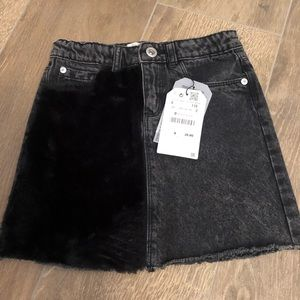 Girls Zara Denim Faux Fur Skirt
